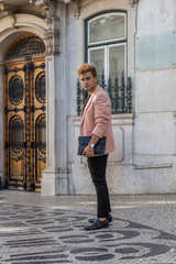 young fashion man on the street of European city