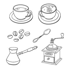 Vector set with cups of coffee, coffee beans, coffee maker, coffee grinder, spoon