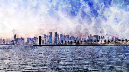 Watercolor painting of Doha, Qatar.