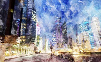 Watercolor painting of Doha, Qatar.
