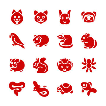 The most popular pets as glyph icons / There are typical pets like dog, cat, ferret and bird