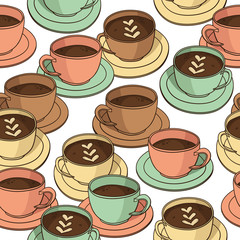 Vector seamless pattern with coffee cups
