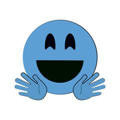 happy open hands emoji instant messaging  icon image vector illustration design