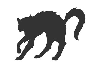 vector silhouette of the cat who arched its back