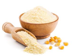 Polenta or corn flour isolated on white