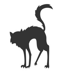 cartoon vector silhouette of the cat who arched its back