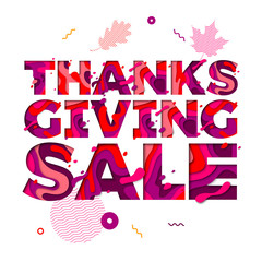 Thanksgiving sale paper cut color text font vector for holiday greeting card