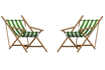 Vector  illustration of two green chaise lounge  on transparent background