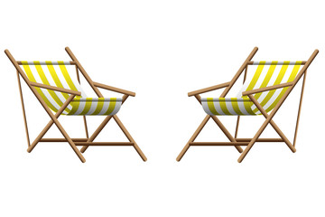 Vector  illustration of   two yellow chaise lounge  on transparent background