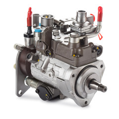 Diesel fuel injection pump isolated on white.