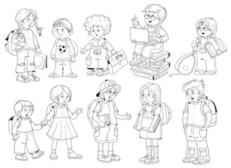 Back to school. Cute schoolchildren ready for school. Coloring page. Poster. Funny cartoon characters