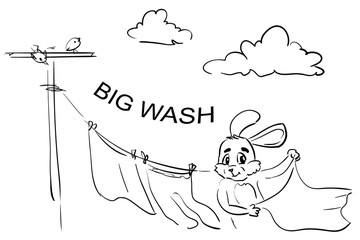 Frame-coloring page WASH - Rabbit hands up the laundry