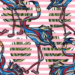 Seamless pattern with flamingo, tropical leaves and stripes on white background. Vector illustration.