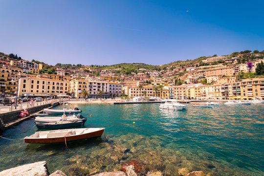 Porto Santo Stefano village skyline, italian travel destination. Monte Argentario, Tuscany, Italy.