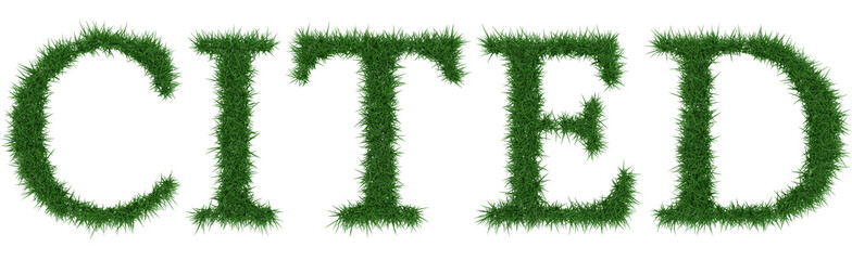 Cited - 3D rendering fresh Grass letters isolated on whhite background.