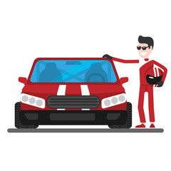 the racer stands next to the car, a cartoon character, a flat illustration