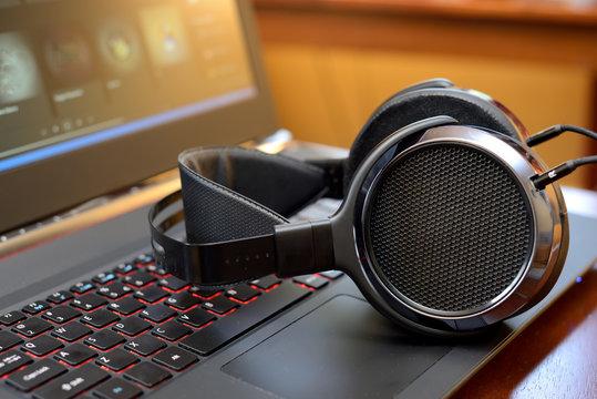 Audiophile Headphones with Laptop PC computer
