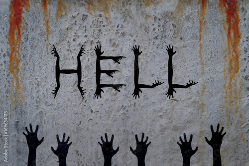 Inscription Hell Made Of Corpse Hands On Bloody Cement Wall