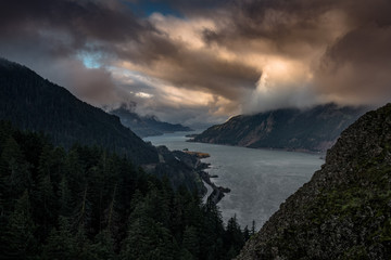 Dramatic morning clouds in the Columbia River Gorge