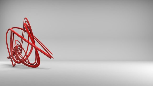 Beautiful abstract red wire sculpture in studio