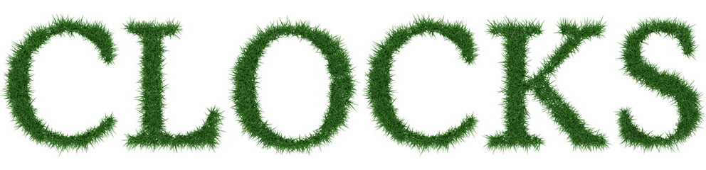 Clocks - 3D rendering fresh Grass letters isolated on whhite background.