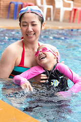 Happy family, active mother and  daughter having fun in a swimming pool