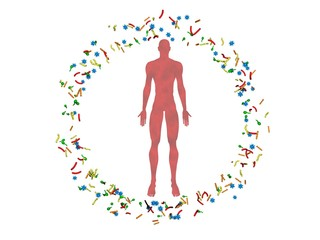 Male body,man surrounded by microbiome cloud of bacteria, viruses, microbes. 3d rendering.White background