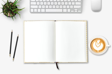 Top view of blank paper page on wood background office desk and different objects. Minimal flat lay style