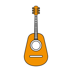 flat line monocromatic   guitar over white  background vector ilustration