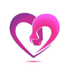 Pink heart holding hands icon logo
