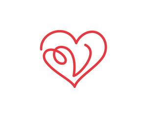 Letter V and heart logo 1
