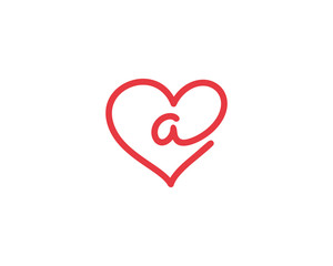 Lowercase Letter a and Heart Logo 1