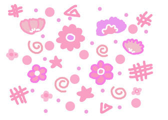 Sweet flower star polka dot background cute cartoon pink wallpaper