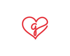 Lowercase Letter g and Heart Logo 1