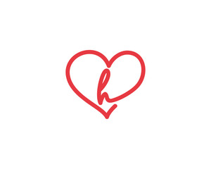 Lowercase Letter h and Heart Logo 1