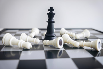 Chess leadership and success concept, chess save the strategy and king on chess board