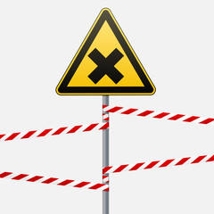 Safety sign. Caution - danger Harmful to health allergic irritant substances. Barrier tape. Vector illustrations