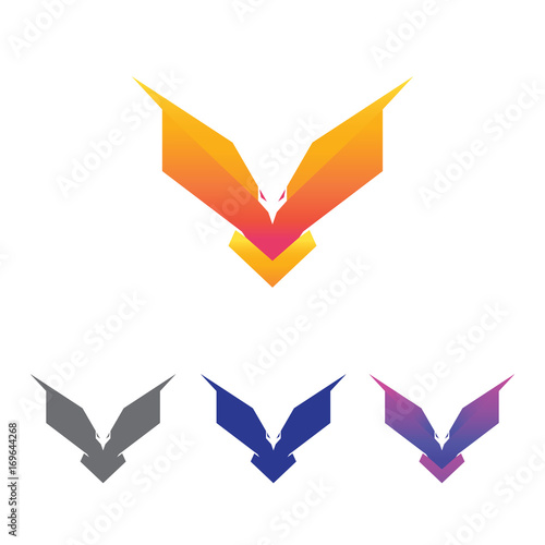cool unique eagle bird modern logo symbol design template stock