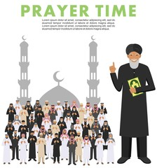 Prayer time. Different standing praying muslim arabic people and mullah in traditional arabian clothes. Mufti with quran. Islamic men with beads in hands pray. Silhouette of a mosque and minarets.
