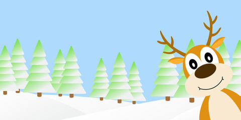Deer in the winter forest.