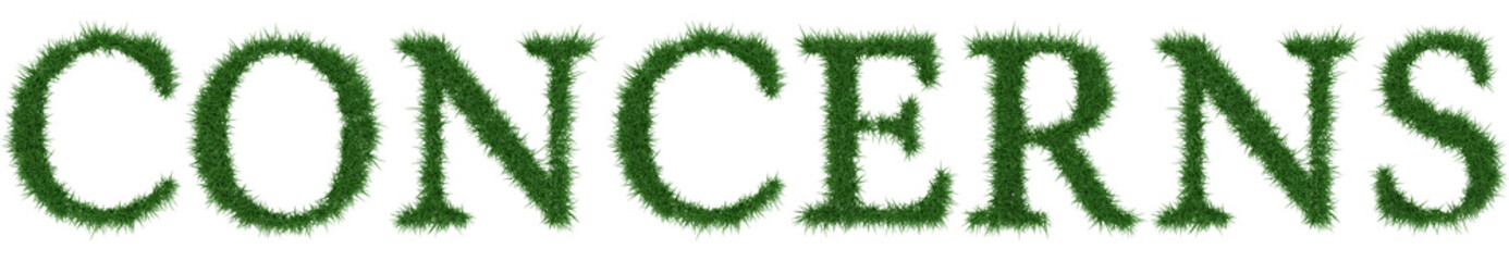Concerns - 3D rendering fresh Grass letters isolated on whhite background.