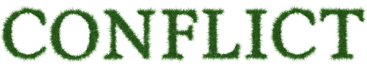 Conflict - 3D rendering fresh Grass letters isolated on whhite background.
