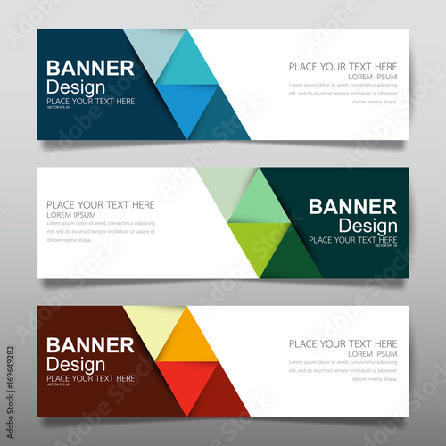 Collection horizontal business banner set vector templates. Clean ...