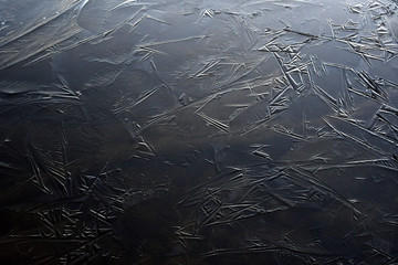 Ice crystals on lake surface