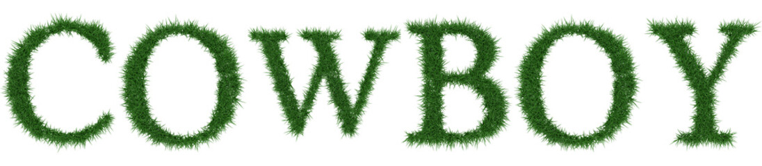 Cowboy - 3D rendering fresh Grass letters isolated on whhite background.