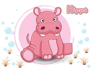 Cute Cartoon Hippo on a color background