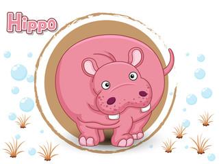 Cute Cartoon Hippo on a color background