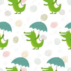 Seamless pattern with cute crocodile and umbrella. vector print.
