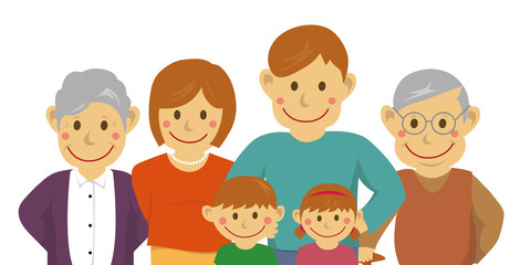 Family illustration (image) / with grandparents / from the waist up