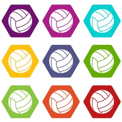Black volleyball ball icon set color hexahedron